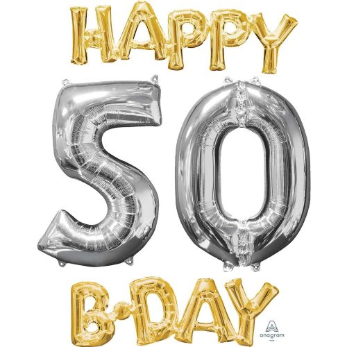 """Happy 50 B-Day"" Phrase & Number Bunch"